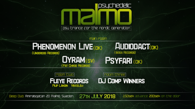 Party Flyer Psychedelic Malmo Launch Party 27 Jul '18, 23:00