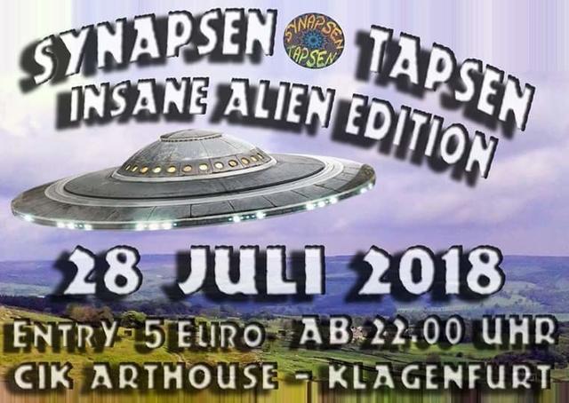 Party Flyer Synapsen Tapsen - Insane Alien Edition 28 Jul '18, 22:00
