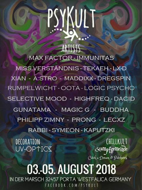 Party Flyer PSYKULT@Festivalkult U&D 2018 3 Aug '18, 20:00