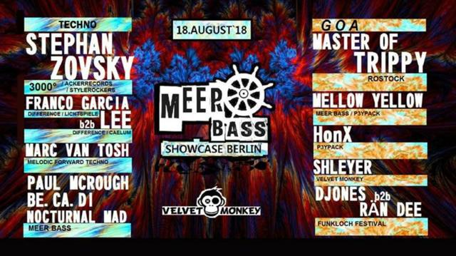 Party Flyer Meer Bass Showcase @ Velvet Monkey 18 Aug '18, 23:00