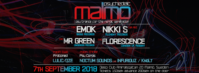 Party Flyer Psychedelic Malmo presents EMOK, NIKKI S + MORE 7 Sep '18, 23:00