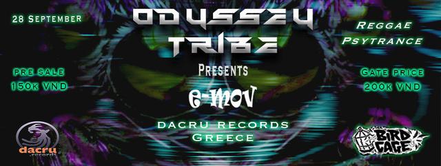 Party Flyer Odyssey Tribe featuring e-Mov live (Dacru records Greece) 28 Sep '18, 21:00