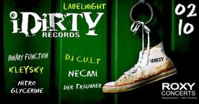 Party Flyer The iDirty Label Night im Roxy Flensburg 2 Oct '18, 23:30
