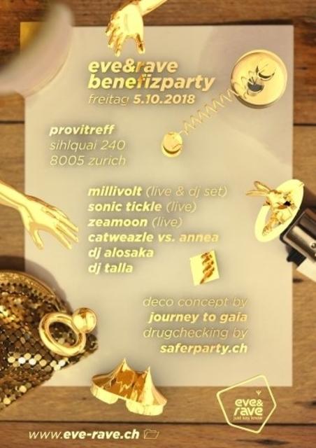 Party Flyer eve&rave Benefizparty inkl. Drugchecking 5 Oct '18, 22:00