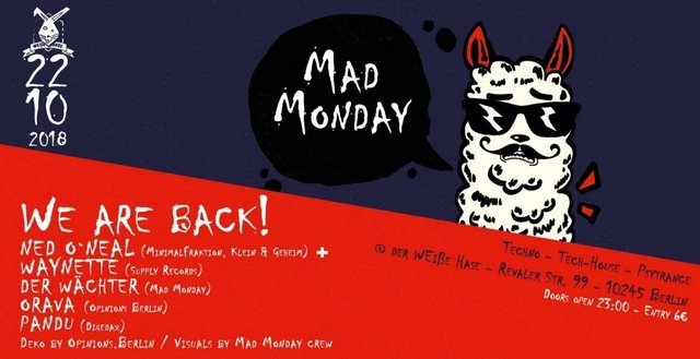 Party Flyer Mad Monday - WE ARE BACK! 22 Oct '18, 23:00
