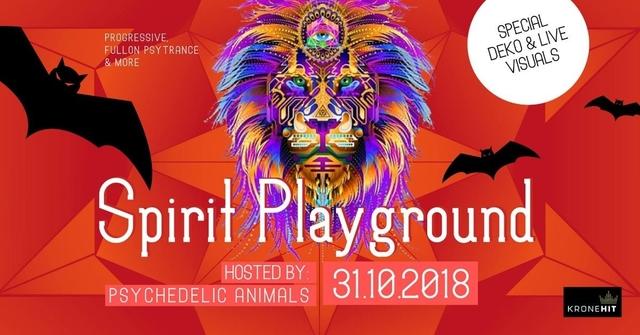 Party Flyer Psychedelic Animals present ✷ Spirit Playground @ Club Spielplatz Linz 31 Oct '18, 22:00