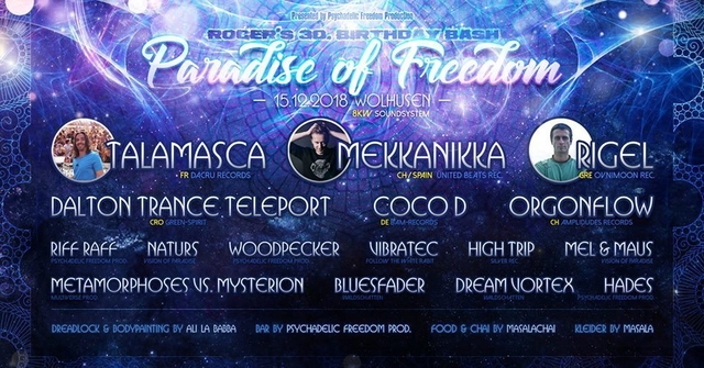 Party Flyer PARADISE OF FREEDOM 15 Dec '18, 17:00