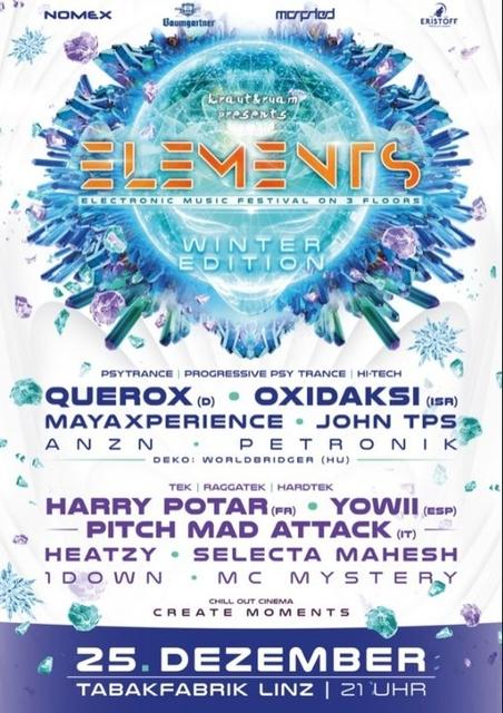 Party Flyer ELEMENTS WINTER FESTIVAL LINZ 25 Dec '18, 21:00