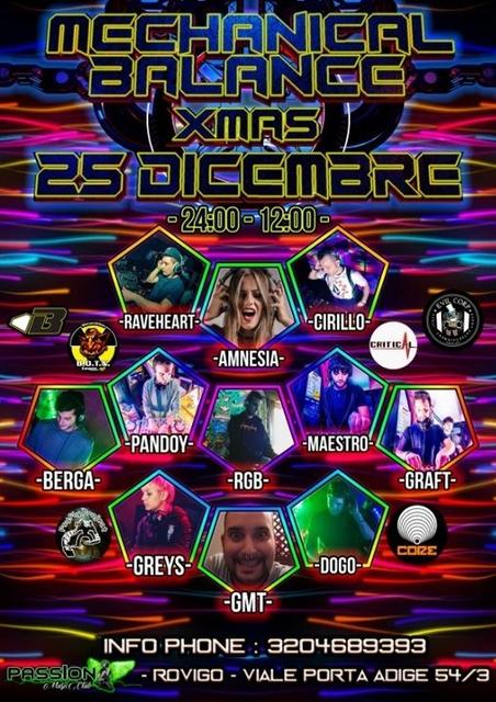 Party Flyer MECHANICAL BALANCE XMAS +AFTER TEKNO 25 Dec '18, 22:00