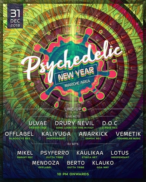 Party Flyer Psychedelic New Year + Tekno 31 Dec '18, 18:00