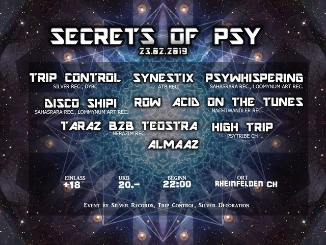 Party Flyer Secrets Of Psy 23 Feb '19, 22:00