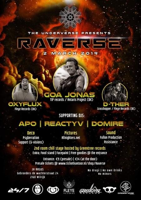 Party Flyer The underverse presents: Raverse   2 Rooms 2 Mar '19, 23:00