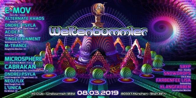 Party Flyer Weltenbummler w/ E-MOV/ MICROSPHERE/ CABRAKAN uvm. 8 Mar '19, 22:00