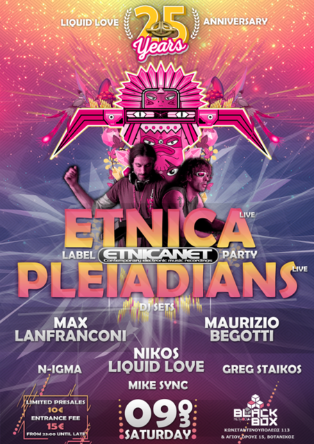 Party Flyer Liquid Love 25 Years Anniversary Etnica-Pleiadians Live 9 Mar '19, 23:00