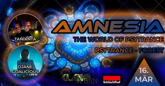 Party Flyer Amnesia The World of Psytrance 16 Mar '19, 22:00