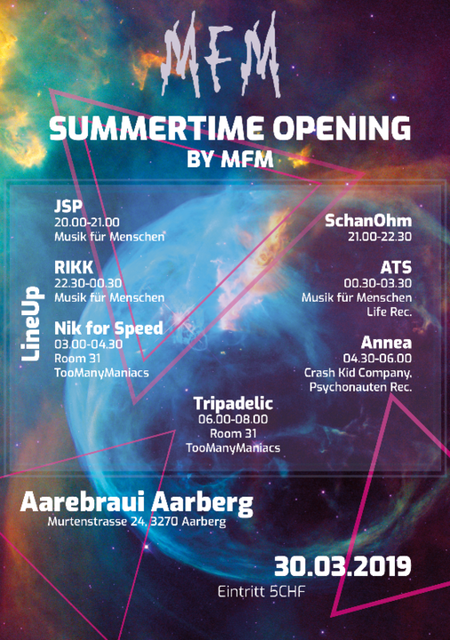 Party Flyer Summertime Opening by MfM 30 Mar '19, 20:00