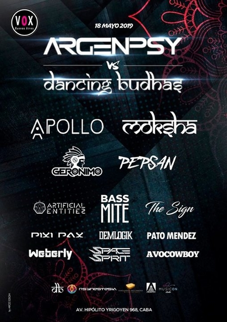 Party Flyer Dancing Budhas & Argenpsy 18 May '19, 23:30