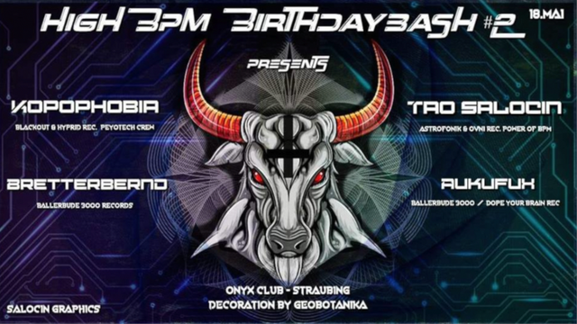 Party Flyer HiGH BPM BiRTHDAY BASH VOL. 2 18 May '19, 22:00