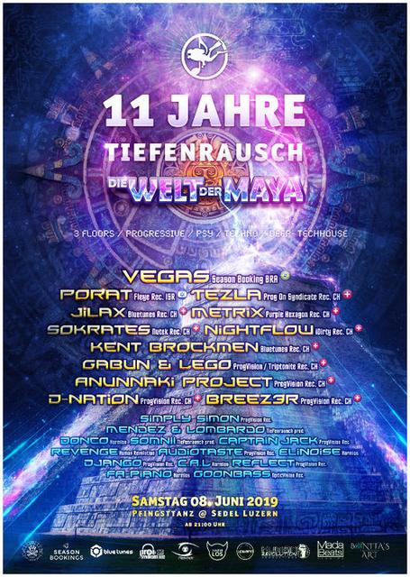 Party Flyer 11 Jahre Tiefenrausch - Die Welt der Maya 8 Jun '19, 21:00
