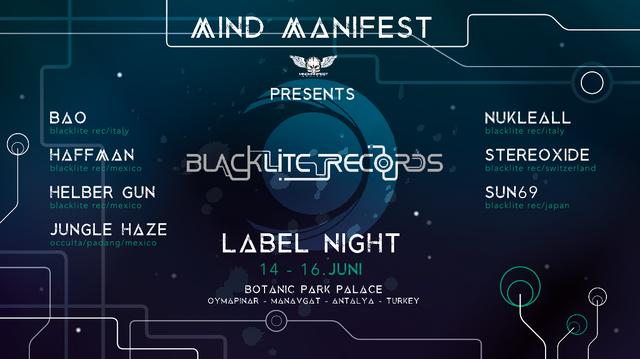 Party Flyer Mind Manifest presents Blacklite Recs. Label Night ! 14 Jun '19, 18:30