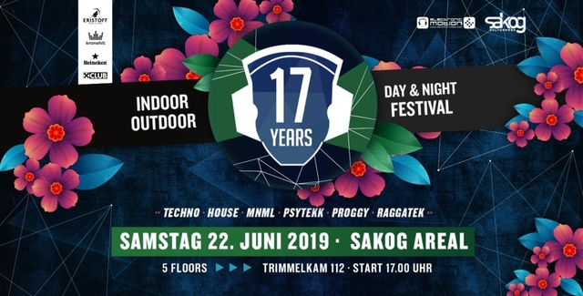 Party Flyer 17 Years Electronic Motion · SAKOG Areal 22 Jun '19, 17:00