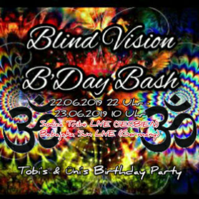 Party Flyer Blind Vision B'Day Bash w/Babajaka Sun/Dropkick/Sonica Tribe 22 Jun '19, 22:00
