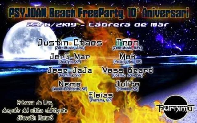 Party Flyer Festa PSYJOAN beach FreeParty!! 23/06/2019 CABRERA de MAR (Barcelona) 23 Jun '19, 21:00
