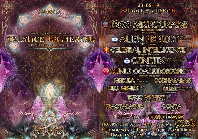 Party Flyer Solstice Gathering 2019 - A Psychedelic Sant Joan Tale 23 Jun '19, 18:00