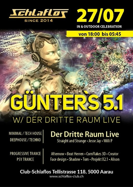 Party Flyer Günter`s 5.1 W/ Der Dritte Raum Live 27 Jul '19, 18:00