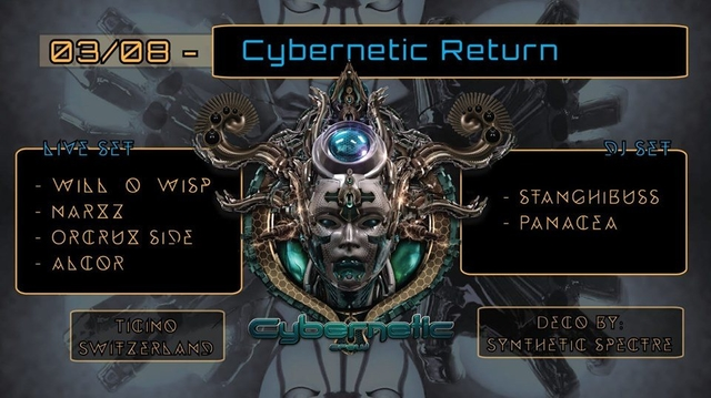 Party Flyer Cybernetic Return ♪♪ Will O Wisp LIVE ♪♪ 3 Aug '19, 21:00