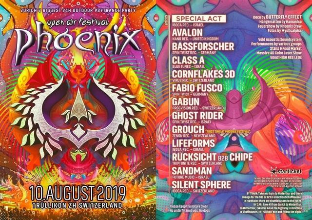 Party Flyer Phoenix Festival 2019 - Die grösste Outdoor Afterparade Party 10 Aug '19, 12:00