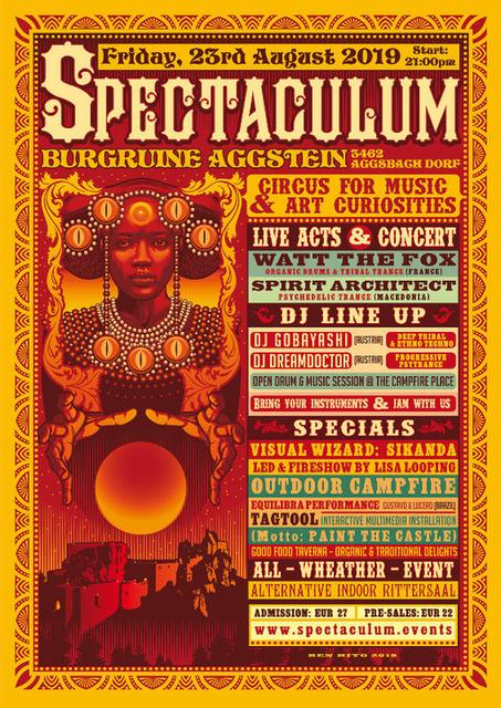°SPECTACULUM° circus for music - SPIRIT ARCHITECT live, WATT THE FOX live, .. 23 Aug '19, 21:00