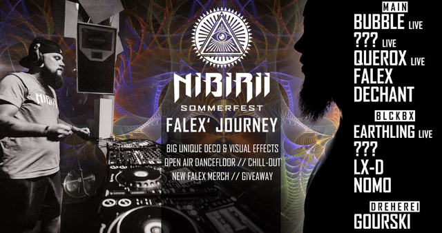 """Party Flyer Nibirii Sommerfest """"Falex Journey"""" w/ Bubble, Earthling & more 30 Aug '19, 23:30"""