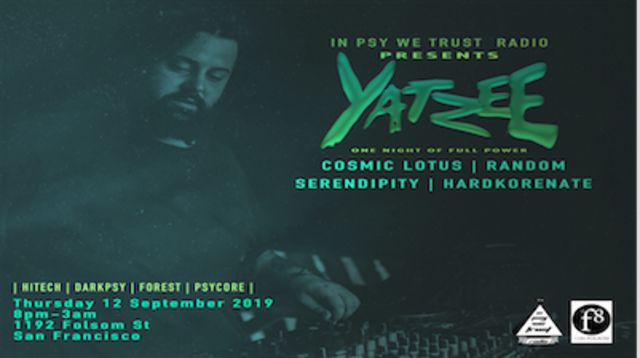 Party Flyer Yatzee - one night of full power darkpsy, forrest, hitech,psycore 12 Sep '19, 20:00