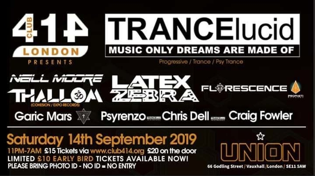 Party Flyer The Club 414 Road Show Presents (TRANCElucid) 14 Sep '19, 23:00