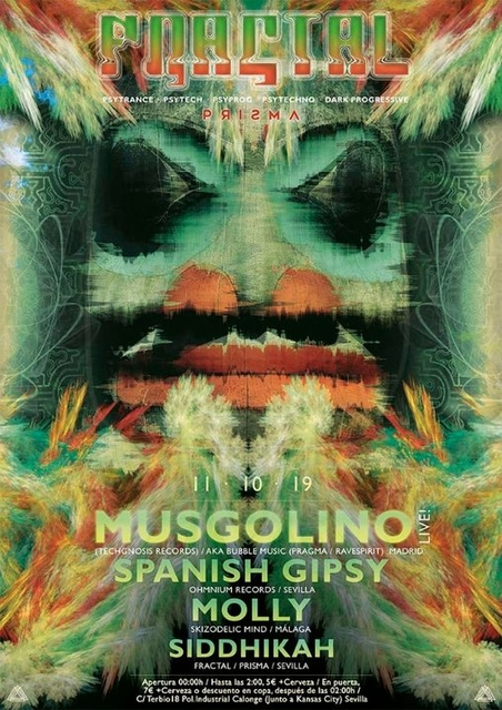 Party Flyer Fractal presents. Musgolino Live! (Techgnosis Records) 11 Oct '19, 23:30