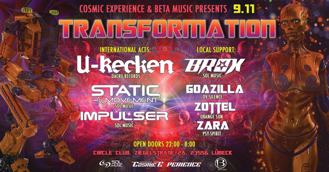 Party Flyer Transformation> U-Recken, Static Movement, Brox, Impulser uvm. 9 Nov '19, 22:00