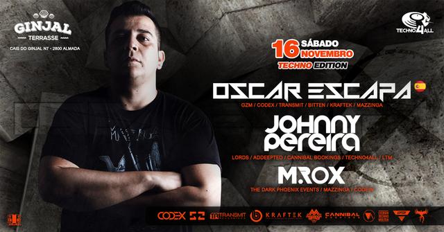 Party Flyer Techno4All - Oscar Escapa (SPAIN) - Ginjal Terrasse 16 Nov '19, 23:00