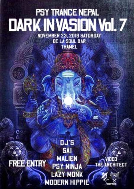 Party Flyer Psy trance Nepal Dark invasion vol 7 23 Nov '19, 18:30