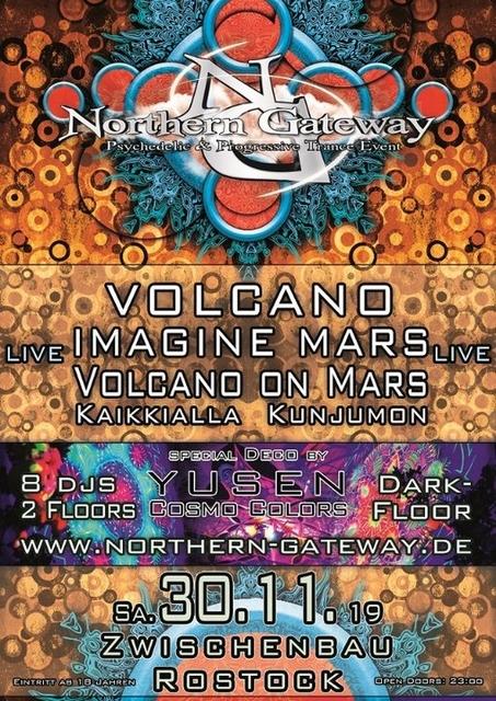 Party Flyer Northern Gateway - Volcano & Imagine Mars LIVE + extra Darkfloor 30 Nov '19, 23:00