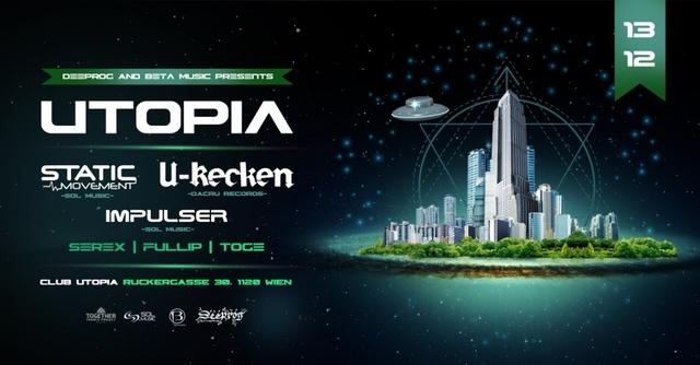 Party Flyer Utopia feat U-Recken, Static Movement, Impulser 13 Dec '19, 22:00