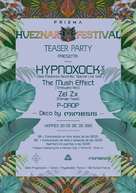 Party Flyer Prisma Invita : Hueznar Festival Teaser Party SEVILLA 20 Dec '19, 23:30