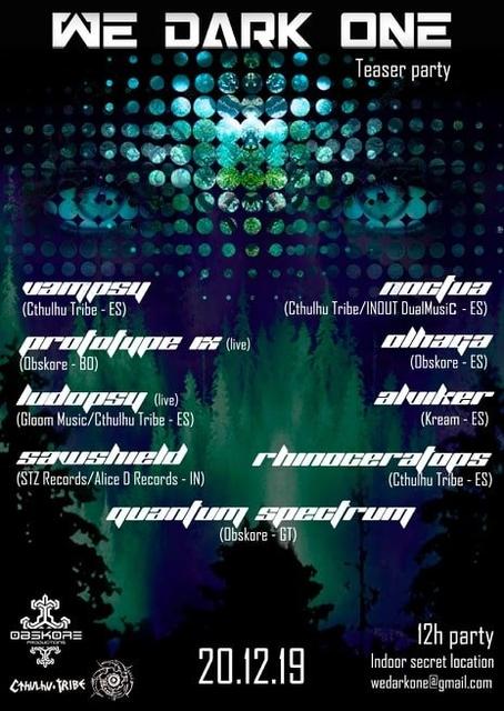 Party Flyer WE DARK ONE - Teaser Party 20 Dec '19, 23:30