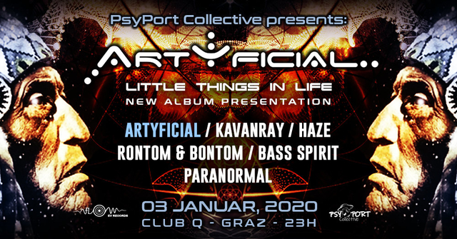 Party Flyer PsyPort Collective presents: ARTYFICIAL - little things in life 3 Jan '20, 23:00