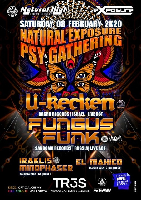 Party Flyer Natural Exposure presents U-Recken & Fungus Funk in Athens on Sat 08 February 8 Feb '20, 23:30