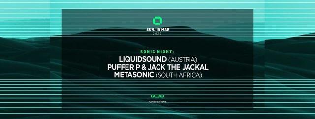 Party Flyer Sonic Night : Liquidsound, Puffer P, Jack the Jackal & Metasonic 15 Mar '20, 21:30