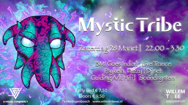 Party Flyer Mystic Tribe▸BMI Goes India, Psykela, Fuzzy & Guiding Ark Hifi. 28 Mar '20, 22:00