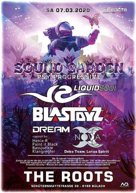 Party Flyer Sound Garden + History of Electronic Music w/ Liquid Soul , Blastoyz 7 Mar '20, 22:00