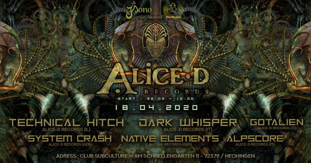 Party Flyer ★ Alice-D Records Labelnight ★ 18 Apr '20, 22:00