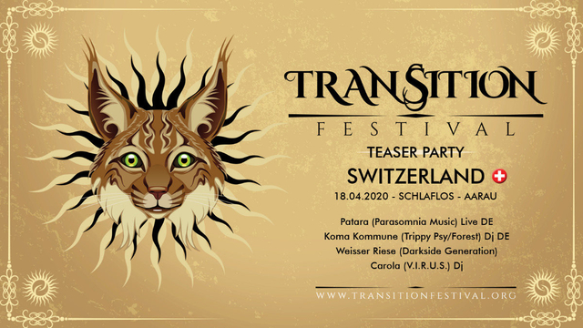 Party Flyer Transition Festival - Teaser Party Switzerland 18 Apr '20, 23:00